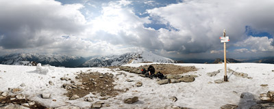 On the summit of Kopa Kondracka (2005 m) in the Tatra Mountains.  Click to view this panorama in new fullscreen window