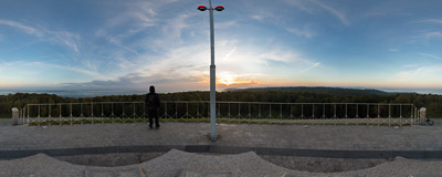 September sunrise seen from the top of Piłsudski Mound in Kraków.  Click to view this panorama in new fullscreen window