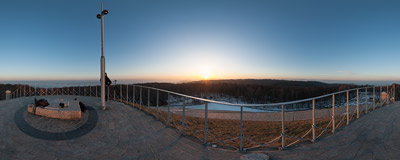 Winter sunrise seen from the top of Piłsudski Mound in Kraków.  Click to view this panorama in new fullscreen window