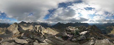 On the summit of Kôprovský štít (2370 m) in Slovak Tatry mountains.  Click to view this panorama in new fullscreen window