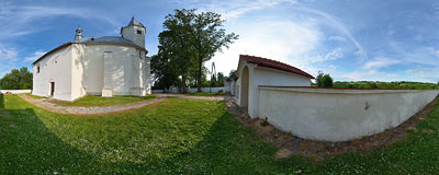 Early-baroque church of St. John Baptist from 1623 in Korzkiew.  Click to view this panorama in new fullscreen window