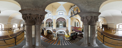 On the 13th century Romanesque gallery of St. Adalbert's church in Kościelec.  Click to view this panorama in new fullscreen window