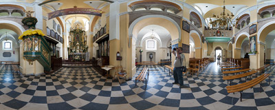 Inside St. Adalbert's church in Kościelec Proszowicki.  Click to view this panorama in new fullscreen window