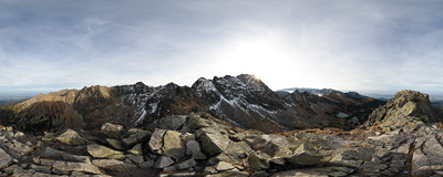On the rocky summit of Kościelec (2155 m) in the Polish Tatra Mountains.  Click to view this panorama in new fullscreen window