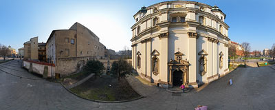 The Bernardine church in Kraków.  Click to view this panorama in new fullscreen window