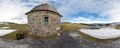 Near a small stone chapel (cca 1910) on the ridge of Koskowa Góra (866 m) in the Beskid Średni mountain range.  Click to view this panorama in new fullscreen window