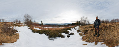 Below the summit of Koskowa Góra (866 m) in Beskid Średni mountain range with a beautiful view of whole Tatra mountains.  Click to view this panorama in new fullscreen window