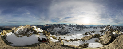 On the summit of Kozi Wierch (2291 m) in the Tatra Mountains.  Click to view this panorama in new fullscreen window
