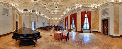 Inside the Academy of Music concert hall in the Florianka building on Basztowa Street in Kraków.  Click to view this panorama in new fullscreen window