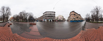Crossroads at the Bagatela Theatre, jokingly called the Piccadilly Circus of Kraków.  Click to view this panorama in new fullscreen window