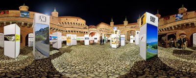 Inside the Kraków Barbican on the 5th Night of Museums.  Click to view this panorama in new fullscreen window