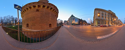 Kraków - evening on Basztowa Street.  Click to view this panorama in new fullscreen window