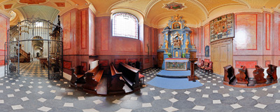 St. Anne's chapel in the Bernardine church in Kraków.  Click to view this panorama in new fullscreen window