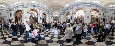 A traditional Holy Mass is held on Pentecost in the Camaldolese monastery church in Bielany, Kraków.  Click to view this panorama in new fullscreen window