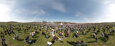 The Błonia meadow in Kraków with some 40,000 people watching the transmission of the funeral service of President Lech Kaczyński and his wife Maria.  Click to view this panorama in new fullscreen window