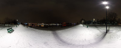 A snowy January night on the Vistula river boulevards in Kraków.  Click to view this panorama in new fullscreen window