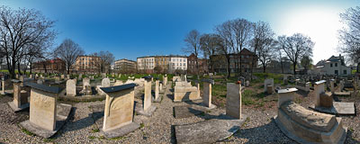 Kraków - Remuh Jewish cemetery, one of the oldest remaining in Poland.  Click to view this panorama in new fullscreen window
