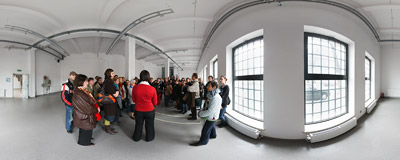 A freshly renovated room in the office building of former Schindler Factory in Kraków-Zabłocie.  Click to view this panorama in new fullscreen window