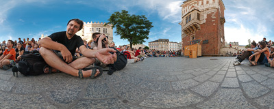 "23rd International Street Theatre Festival in Kraków: ""Pop-up!"" performance by the Dutch Slagman Producties duet.  Click to view this panorama in new fullscreen window"