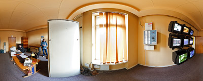 Video surveillance room at the Kraków Główny railway station.  Click to view this panorama in new fullscreen window