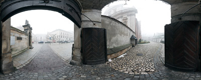 The gate between the churches of St. Andrew and St. Peter & St. Paul on Grodzka Street in Kraków.  Click to view this panorama in new fullscreen window