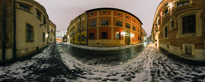 Kanonicza Street in the Kraków Old Town, visited on a snowy January night.  Click to view this panorama in new fullscreen window