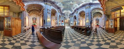 Holy Trinity Church in Kraków, Krakowska Street.  Click to view this panorama in new fullscreen window