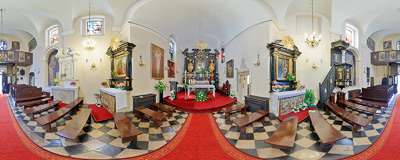 Inside the 17th century Baroque church of Divine Mercy in Kraków.  Click to view this panorama in new fullscreen window