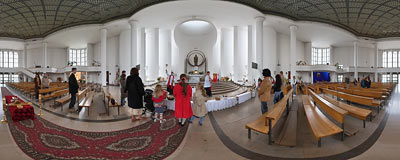 Easter food consecration in St. Albert's church in Kraków.  Click to view this panorama in new fullscreen window