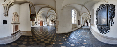 The cloisters of the Dominican monastery in Kraków.  Click to view this panorama in new fullscreen window