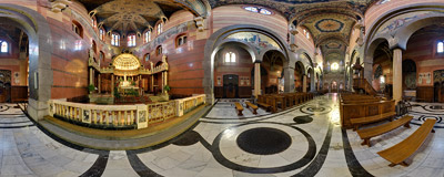 In the Jesuit church of the Sacred Heart of Jesus in Kraków.  Click to view this panorama in new fullscreen window