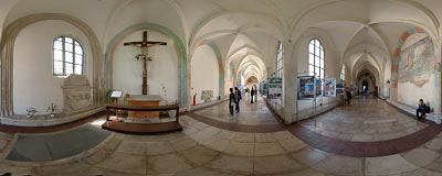 Cloisters of the Gothic Augustine church of St. Catherine and St. Margaret in Kraków.  Click to view this panorama in new fullscreen window