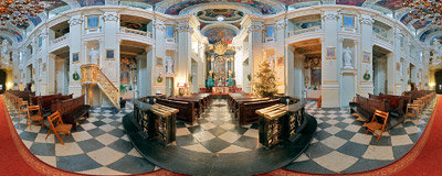 Inside the Baroque Missionary Church of Conversion of Saint Paul in Kraków, Stradom Street.  Click to view this panorama in new fullscreen window