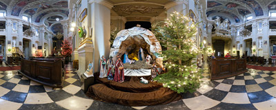 The nativity scene in the Missionaries' Church of Conversion of Saint Paul in Kraków.  Click to view this panorama in new fullscreen window
