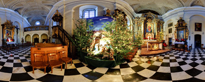 "A nativity scene in the ""Na Gródku"" church in Kraków, belonging to nuns of the Dominican Order.  Click to view this panorama in new fullscreen window"