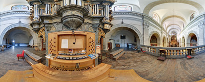 The organ in the Carmelite church of Visitation of the Virgin Mary in Kraków.  Click to view this panorama in new fullscreen window