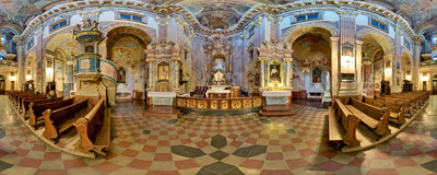 The 18th century Piarist church of the Transfiguration in Kraków.  Click to view this panorama in new fullscreen window