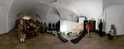 The Tomb of the Lord in the crypt of the Piarist church in Kraków (see the same location in 2008,  2009, 2010 and 2011).  Click to view this panorama in new fullscreen window