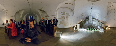 The Tomb of the Lord in the crypt of the Piarist church in Kraków (see the same location in 2008,  2009, 2010, 2011, 2012 and 2013).  Click to view this panorama in new fullscreen window