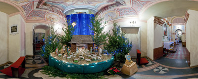 The nativity scene in the Piarist church of the Transfiguration in Kraków.  Click to view this panorama in new fullscreen window