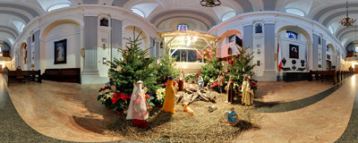Nativity scene in St. Agnes's church in Kraków.  Click to view this panorama in new fullscreen window