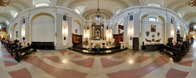 Inside St. Agnes' Church on Dietla Street in Kraków.  Click to view this panorama in new fullscreen window