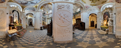 In the northern nave of St. Anne's church in Kraków.  Click to view this panorama in new fullscreen window