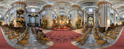 Inside the St. Anne's church in Kraków.  Click to view this panorama in new fullscreen window