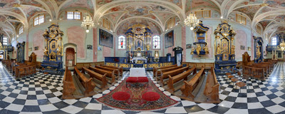 Inside the freshly renovated Baroque interior of St. Barbara's church in Kraków.  Click to view this panorama in new fullscreen window