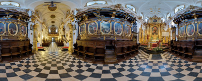Inside the St. Florian's church in Kraków.  Click to view this panorama in new fullscreen window