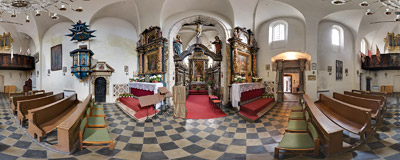 Inside the St. Giles' church on Grodzka Street in Kraków.  Click to view this panorama in new fullscreen window
