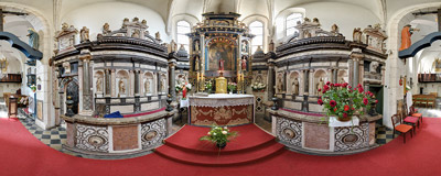 In the presbitery of St. Giles' church on Grodzka Street in Kraków.  Click to view this panorama in new fullscreen window