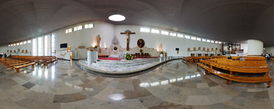 Inside the modern church of St. John Cantius, osiedle Widok, Kraków.  Click to view this panorama in new fullscreen window