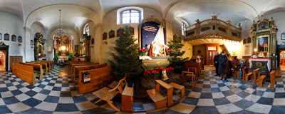 Nativity scene in the church of St. John the Baptist and St. John the Evangelist in Kraków.  Click to view this panorama in new fullscreen window